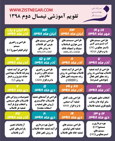تقویم آموزشی آموزشگاه تخصصی آب و فاضلاب زیست نگار نیمسال دوم ۱۳۹۸